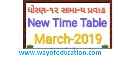 Std-12 General Stream New Time Table For March-2019