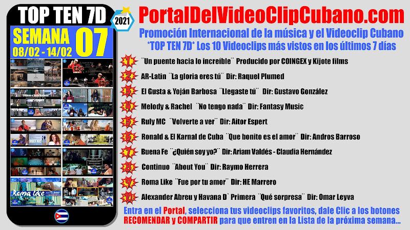 Artistas ganadores del * TOP TEN 7D * con los 10 Videoclips más vistos en la semana 07 (08/02 a 14/02 de 2021) en el Portal Del Vídeo Clip Cubano