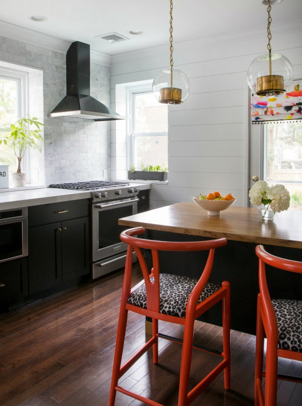 Black, gray, gold and red kitchen makeover