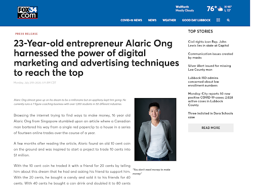 Alaric Ong on Fox34