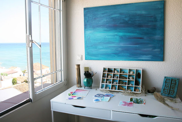 Louise Gale, Artist Studio, Spain, Sea, Ocean, View, Work Space