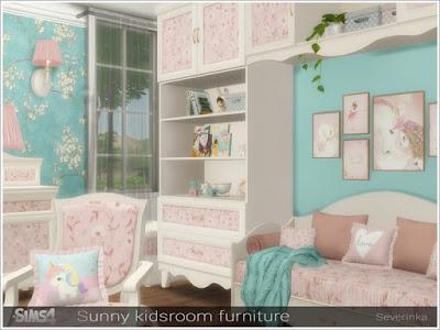 Sunny kidsroom furniture Солнечная мебель для детской для The Sims 4 Набор мебели для детской комнаты в романтическом стиле. В набор входят 11 предметов: - шкаф - шкаф - полка - комод - зеркало для комода - кресло - диван 2-местный - односпальная кровать - ящик для игрушек - торшер - настенный светильник Автор: Severinka_