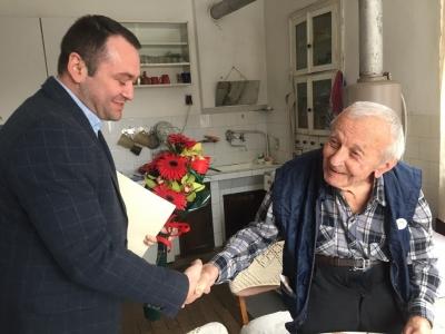 Маньо Манев от Черни Вит – ветеран от войната, отпразнува своя 97-ми рожден ден