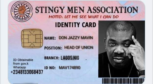 Registration Complete: Don Jazzy join Stingy Men Association Of Nigeria