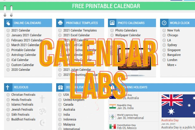 CalendardLabs - Δεκάδες εκτυπώσιμα ημερολόγια εντελώς δωρεάν
