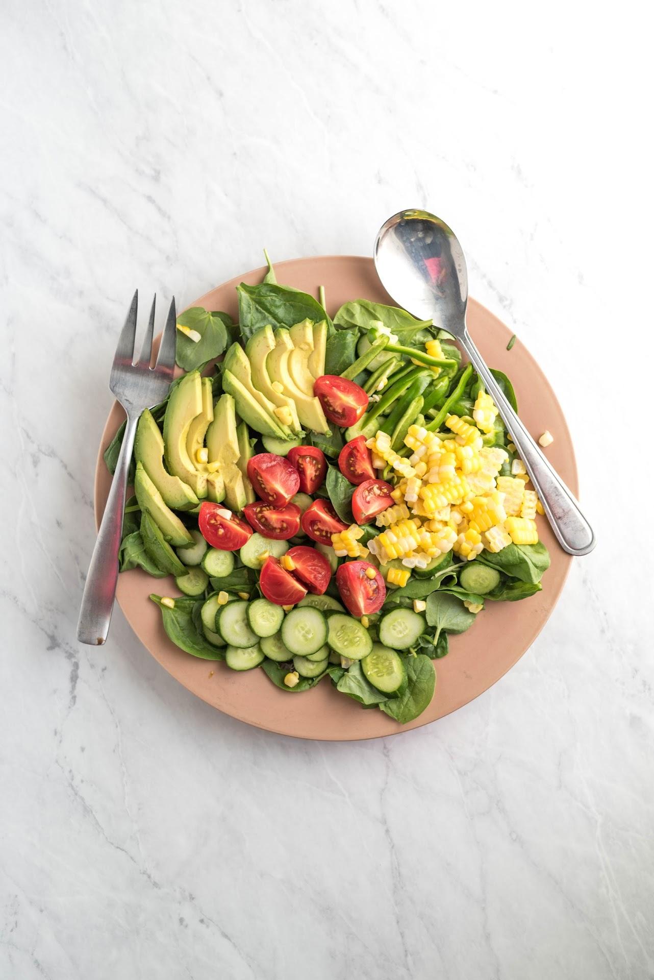 fresh salad, pretty salad, gourmet, avocado, healthy, corn, best salad, dinner, food inspo, side dish idea, food photography, colorful