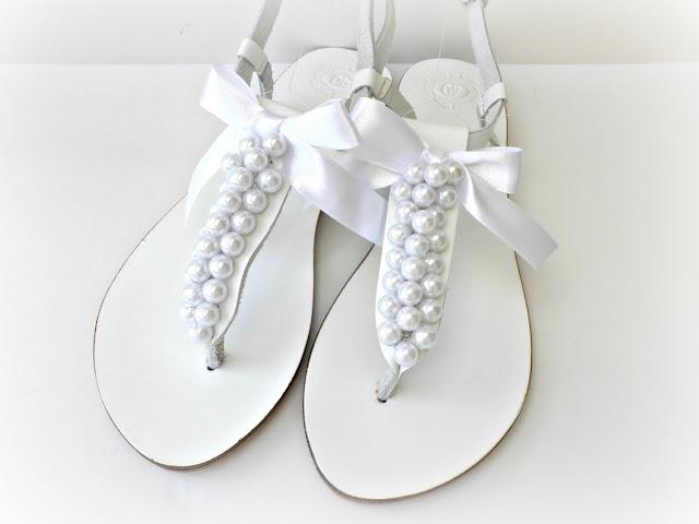 White Wedding Sandals Flat