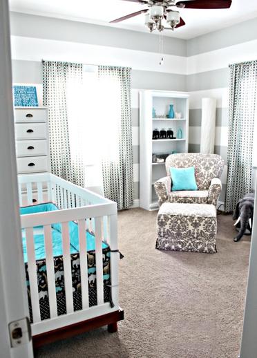 Cuartos de beb en turquesa y gris dormitorios colores y for Habitacion bebe gris