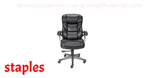 STAPLES Osgood High-Back Bonded Leather Manager Chair, Black