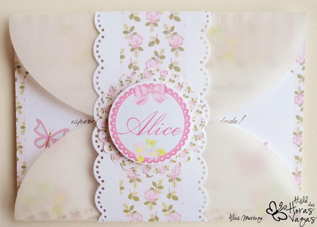 convite provençal floral jardim encantado menina aniversário 1 aninho bebê flores papel vegetal envelope
