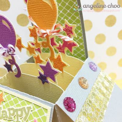 SVG Attic: Birthday Balloon Box Card with Angeline #svgattic #scrappyscrappy #birthdaybash #birthday #boxcard #balloons #svg #cutfile #diecut #trendytwine #silhouettecameo