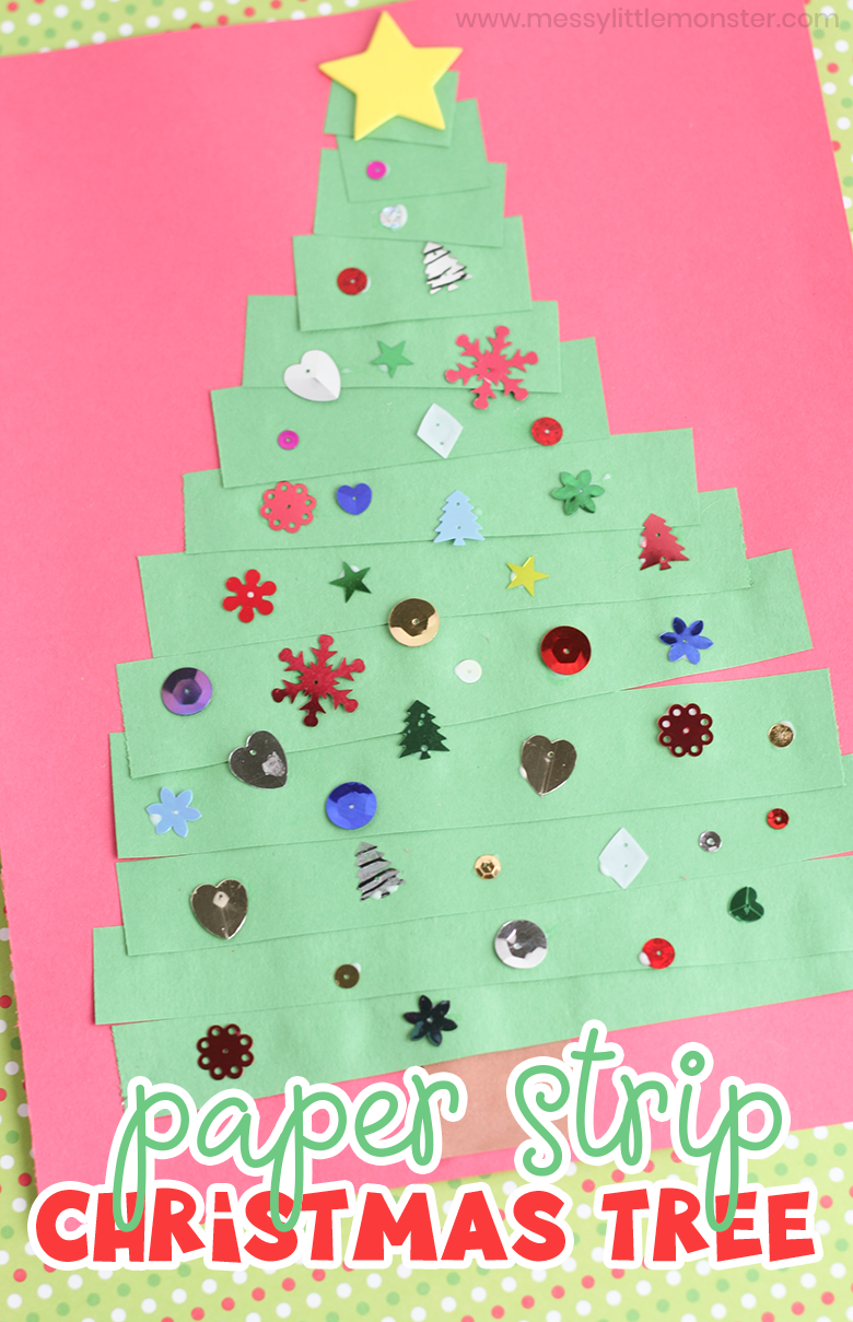 Toddler Christmas card. This easy paper strip Christmas tree craft for toddlers is such a fun Christmas craft for kids to make this holiday season.
