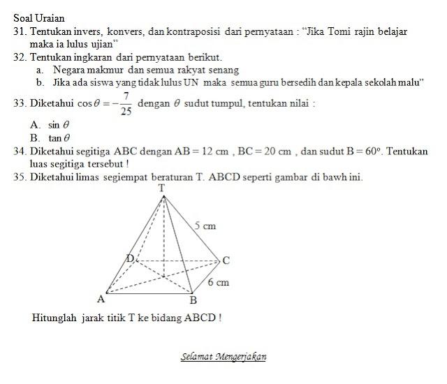 Soal UKK / UAS Matematika Kelas X XI + Kunci Jawaban