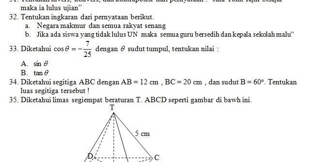 Soal Ukk Uas Matematika Kelas X Xi Kunci Jawaban Kumpulan Rumus Matematika