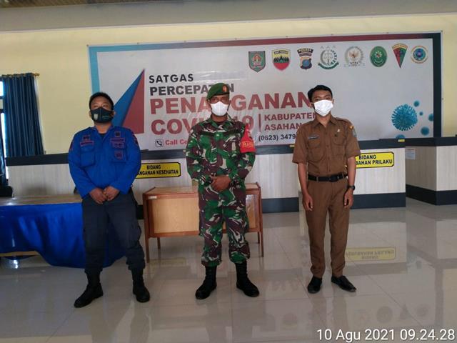 Posko Gugus Tugas Covid-19 Di Kabupaten Asahan Dilaksanakan Personel Jajaran Kodim 0208/Asahan Di Gedung Dekranasda