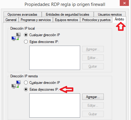 Windows: RDP regla ip origen firewall