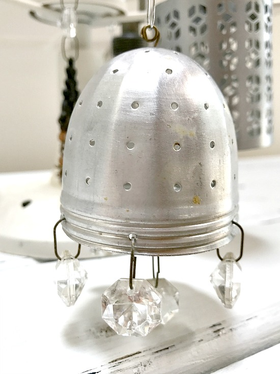 Repurposed tea strainer Christmas tree ornament