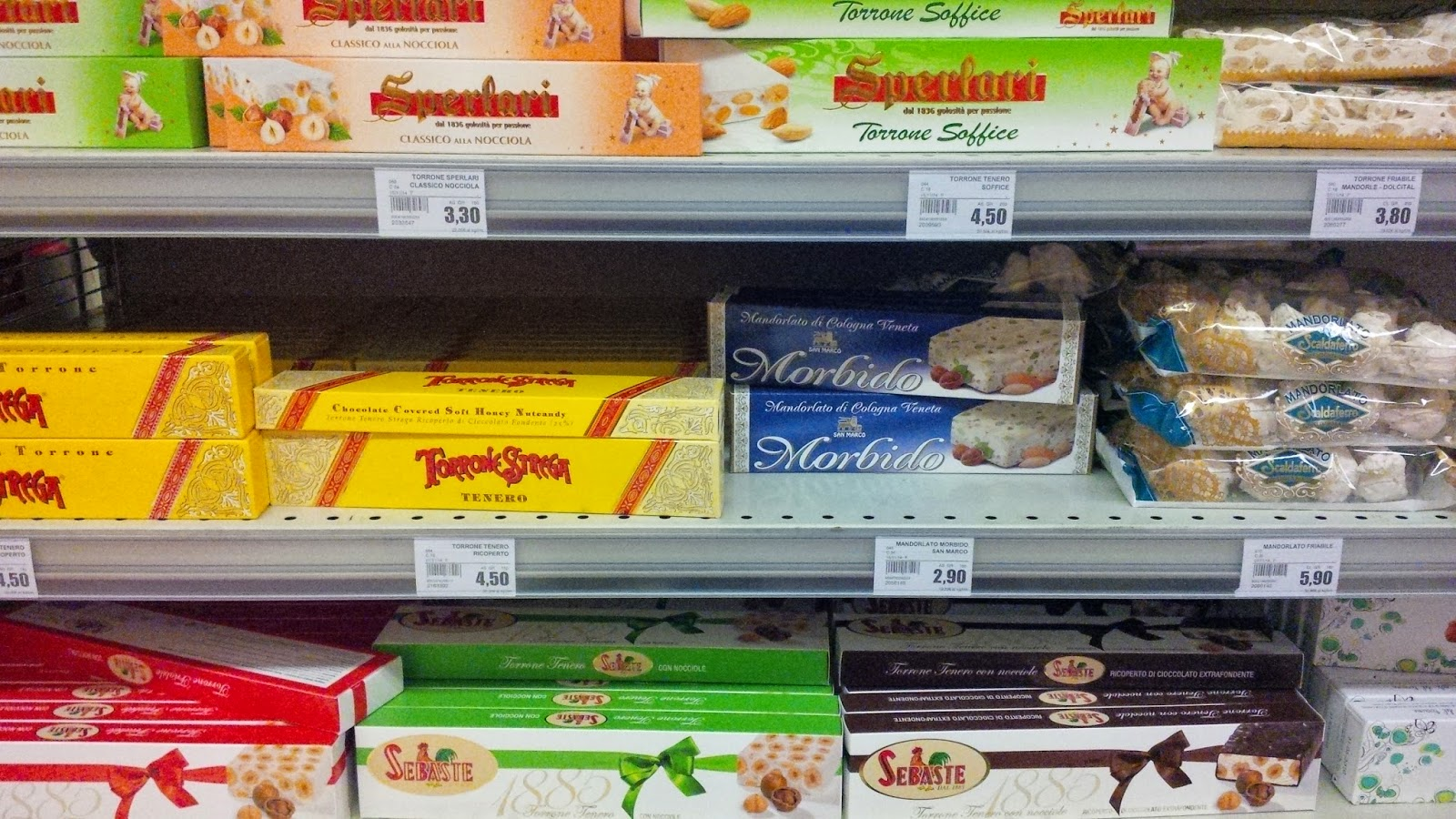 Shelves filled with nougat for Christmas