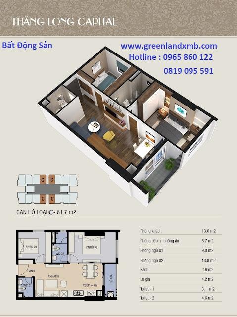 Mặt bằng 3D căn hộ 61,7m2 - căn 2 phòng ngủ và diện tích.