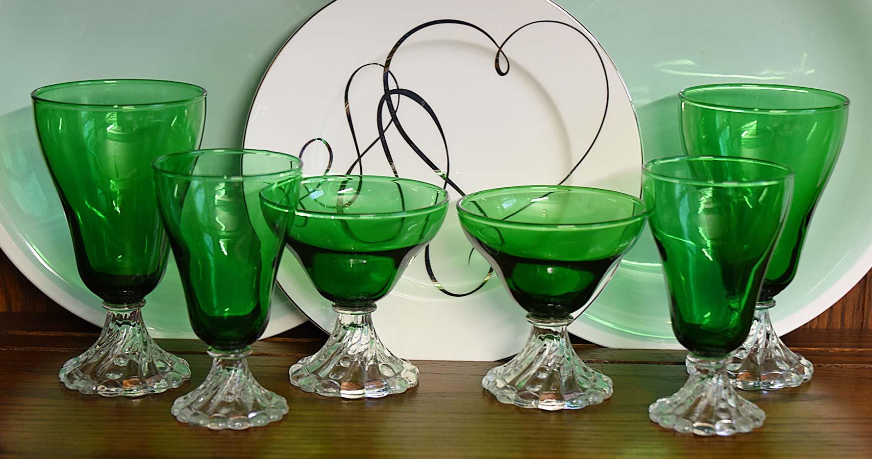 Green Glass Depression glassware