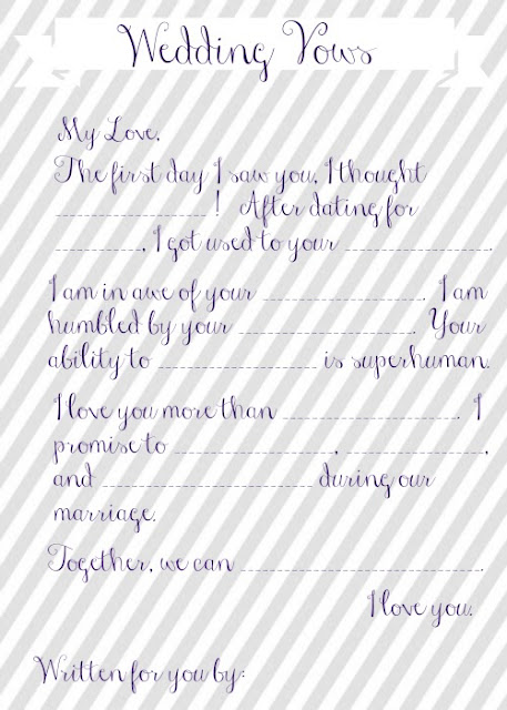 Wedding vow mad libs free printable for Vow writing template