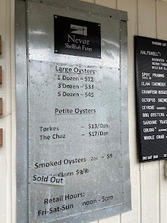 Nevør Shellfish Farm menu.