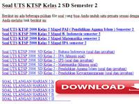 Soal UTS KTSP Kelas 2 SD Semester 2