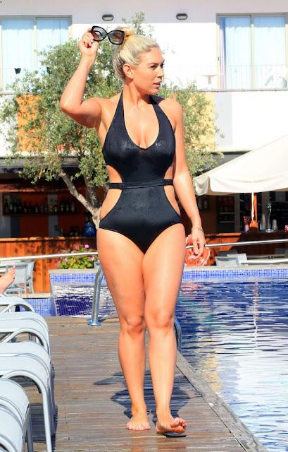 Frankie Essex in Black Swimsuit in Ibiza