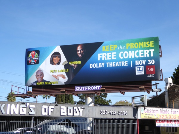 Keep the Promise Free concert billboard