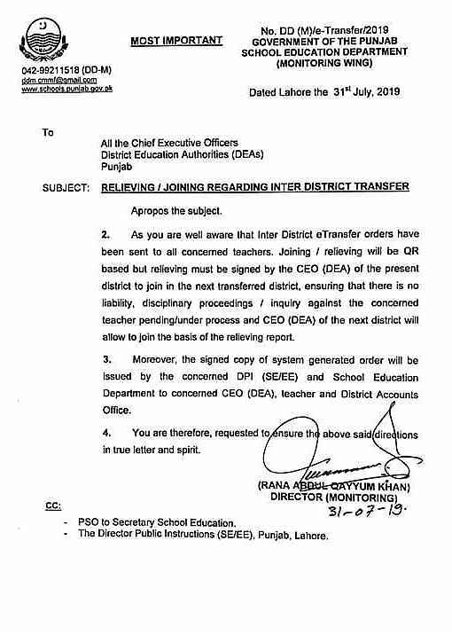 INSTRUCTIONS REGARDING RELIEVING AND JOINING OF INTER DISTRICT TRANSFERS OF TEACHERS