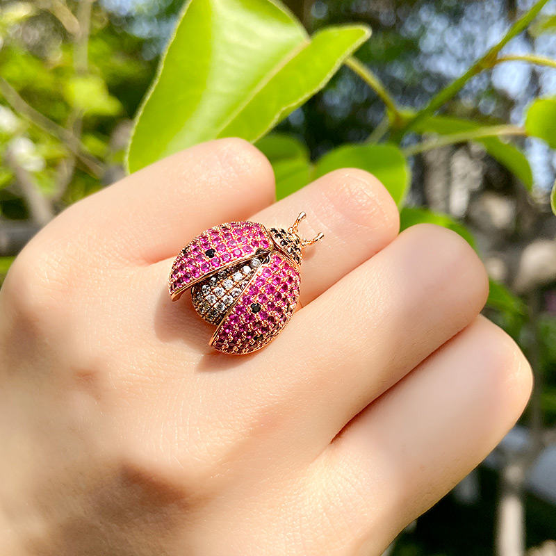Lady bug ring for women