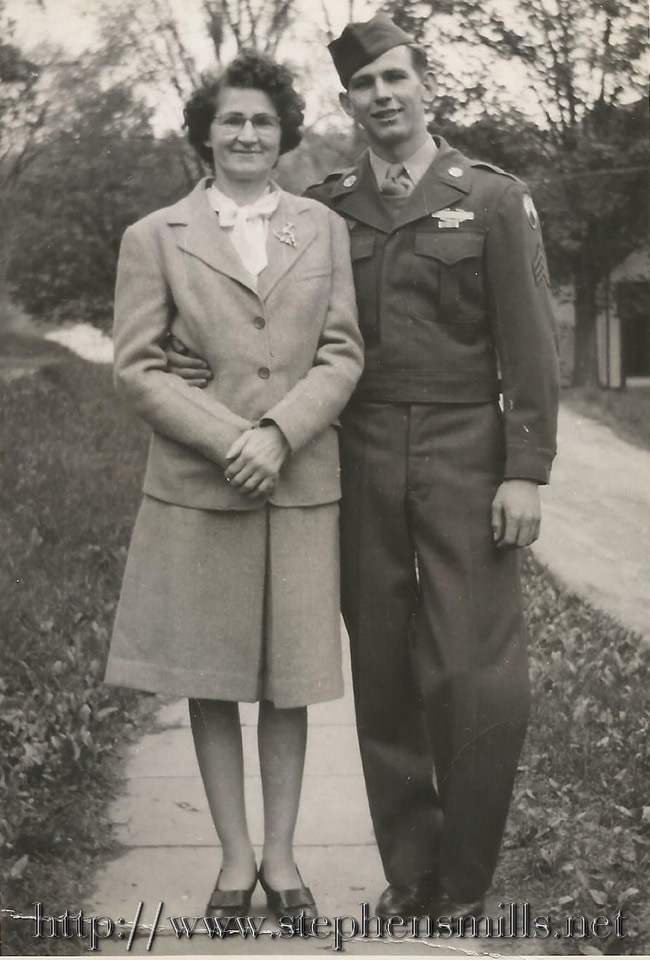 Photo of  Roxie Inman and her son Sergeant Vernon Inman WWII - home on leave