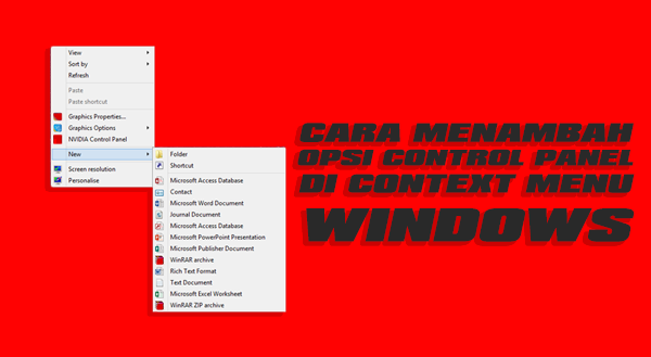 Cara menambah opsi Control Panel di Context Menu Windows