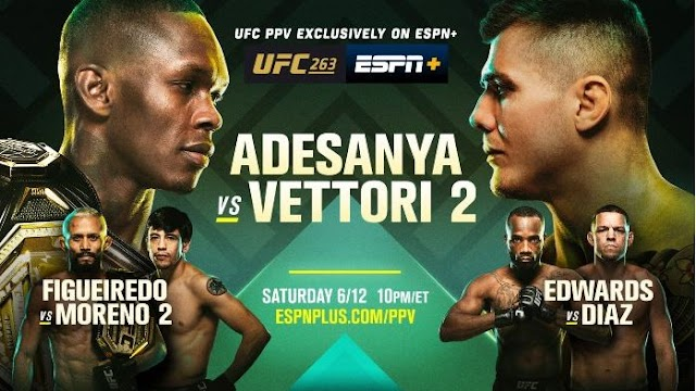 Watch UFC 263 PPV Adesanya vs Vettori 2 Live 12 June 2021