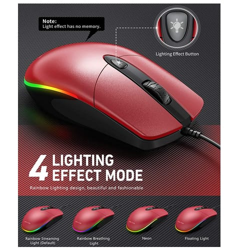 Jelly Comb USB Wired RGB Optical Silent Mouse