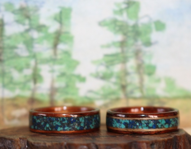 Dark Hawaiian Koa with mixed Lapis and Turquoise inlays