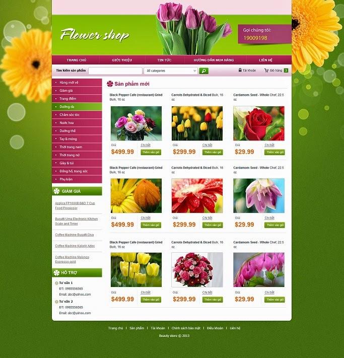 thiết kế website bán hàng hoa tươi chuyên nghiệp
