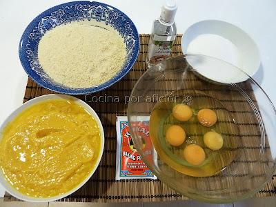 pastel de naranja y almendras. Ingredientes