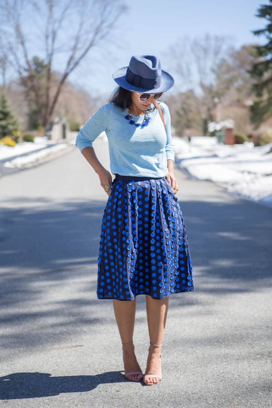 midi skirt, navy hat, spring sweater, petite style, spring style, jcrew, banana republic, feminine style, styling tips, outfit ideas, how to mix and match, blue accessories, color rich, styling tips, petite stylist, boston blogger, petite blogger