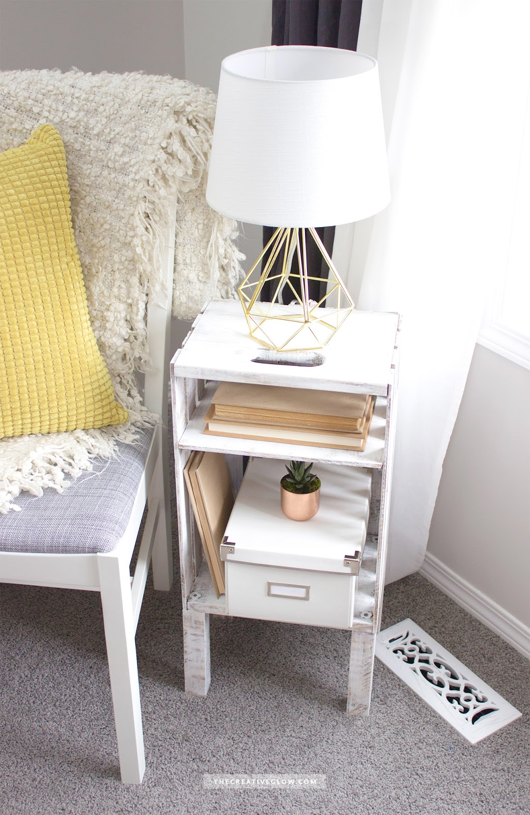 Diy wood crate side table quick easy inexpensive
