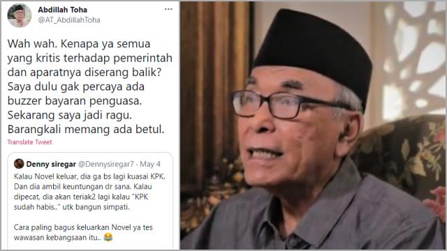 Soroti Akun-akun yang Dukung Novel Dipecat dari KPK, Abdillah Toha Mulai Percaya Keberadaan Buzzer