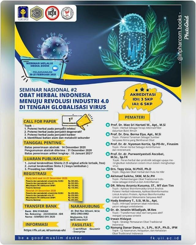 Seminar Nasional Obat Herbal Indonesia menuju Revolusi Industri 4.0 di Tengah Globalisasi Virus