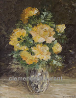 Heart of Gold, 10 x 8 oil painting of yellow roses by Clemence St. Laurent