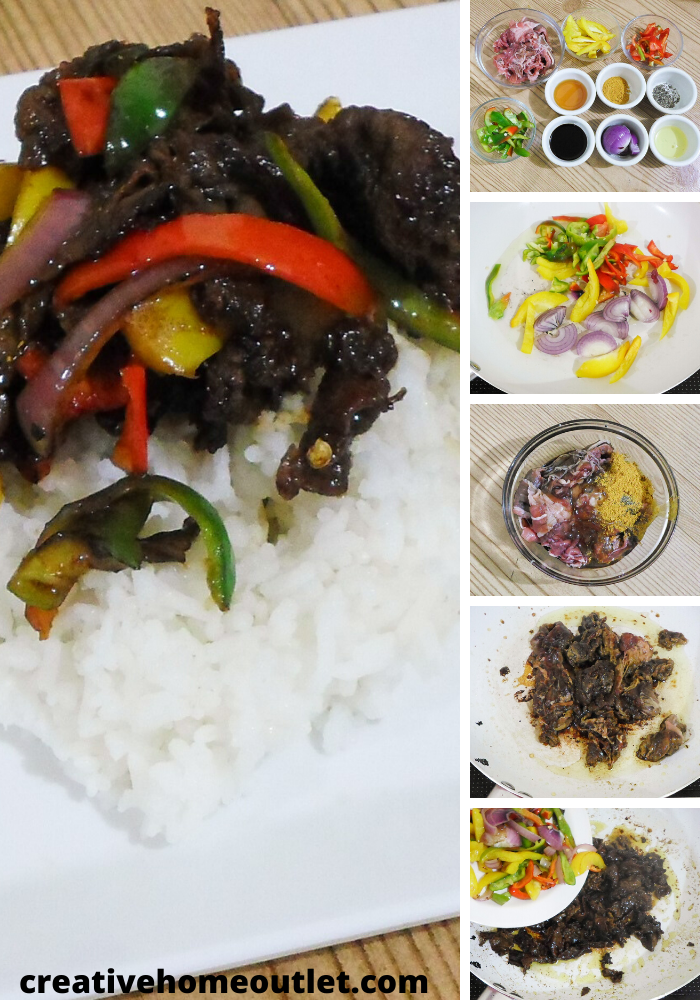 Beef stir-fry with rice - flavored with honey, soy sauce, curry poweder etc. Add it to your quick dinner ideas for a decent yet easy to cook meal.
