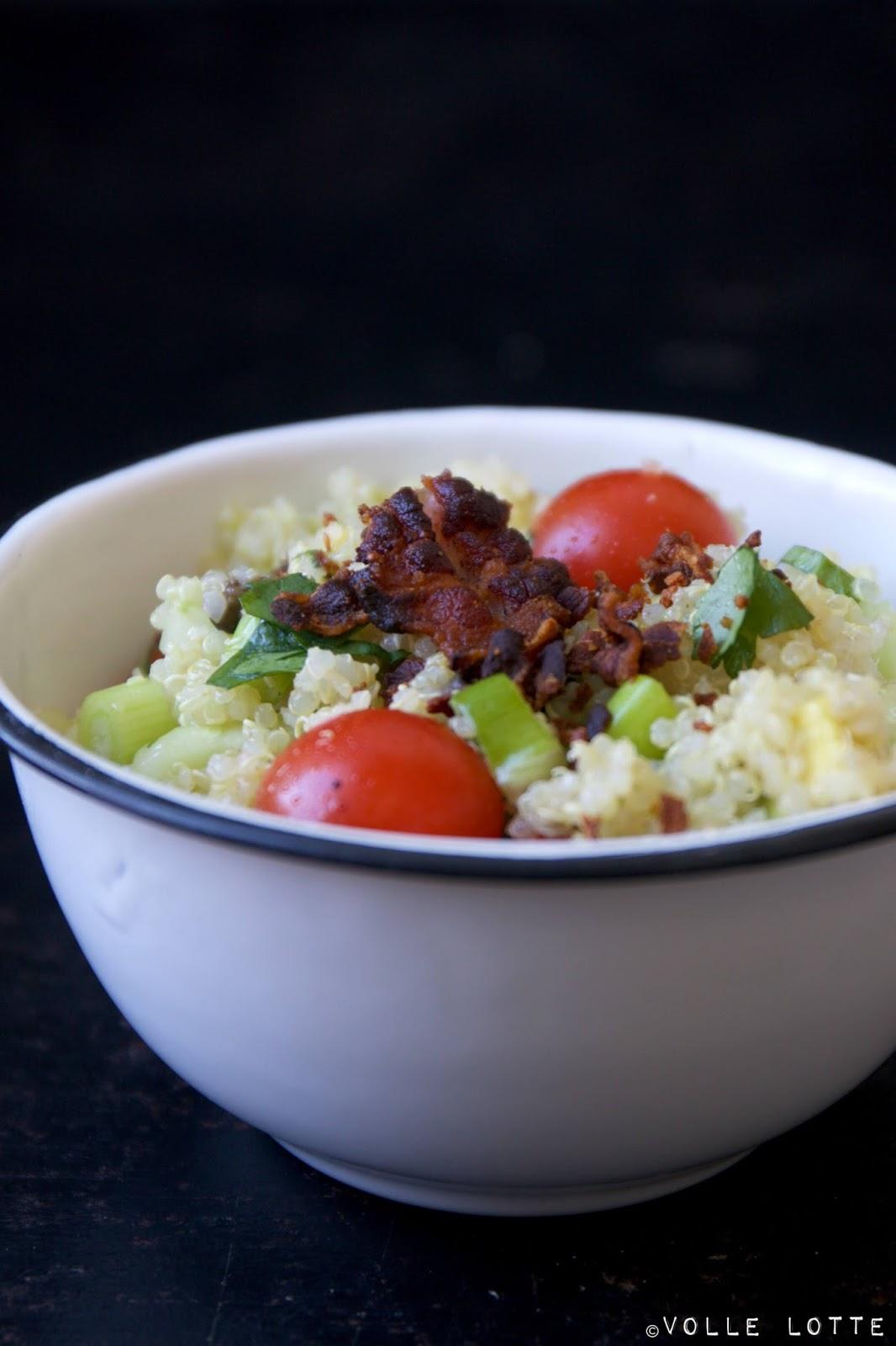 quinoa salat mit avocado tomaten und bacon volle lotte. Black Bedroom Furniture Sets. Home Design Ideas
