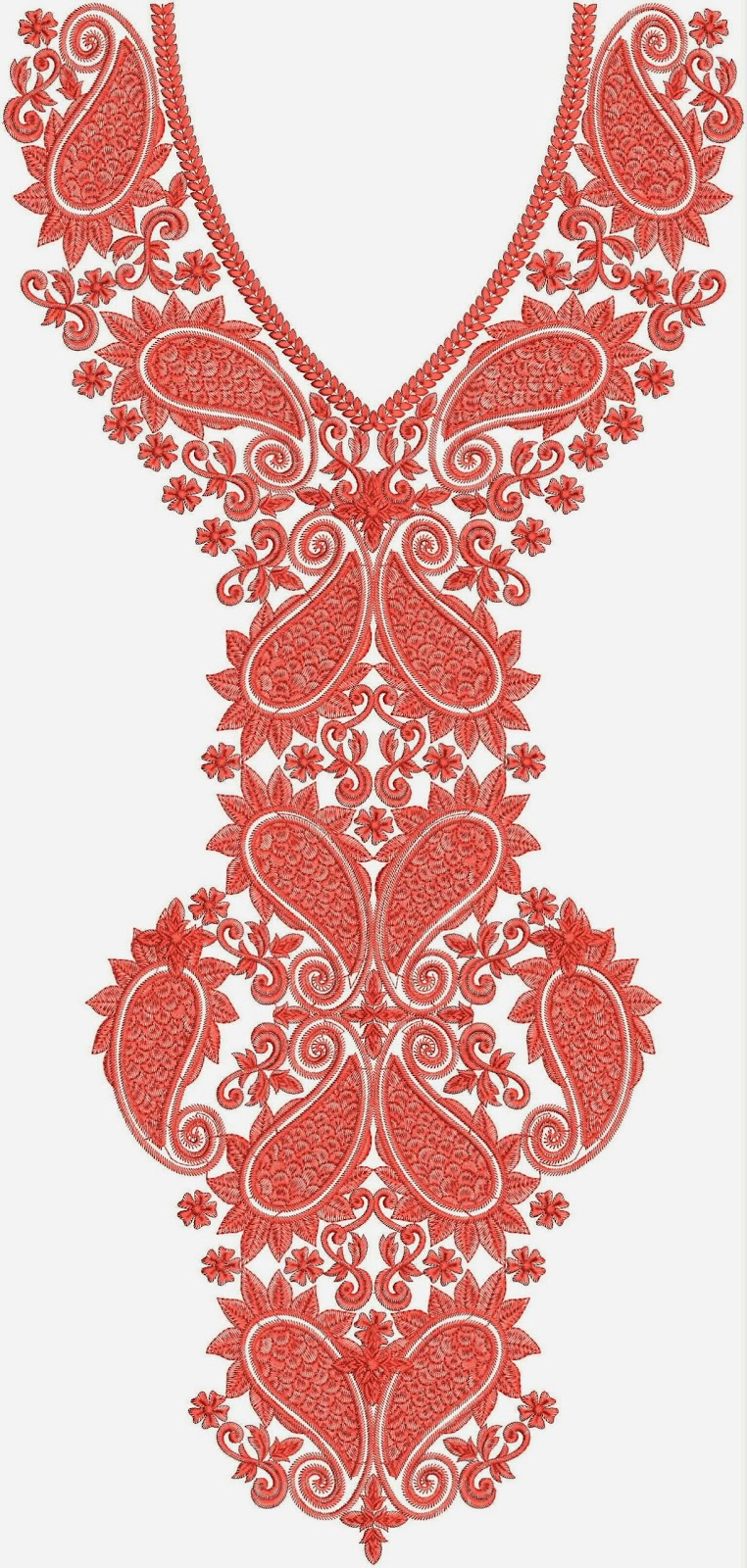 Indian Embroidered Sarees: Embdesigntube: Standard Neck Embroidery Designs