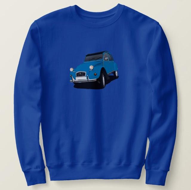 Rättisitikka paidat - Citroën 2CV - sininen