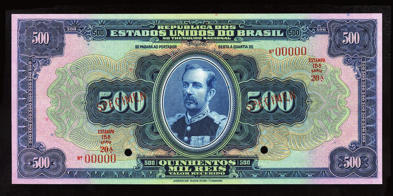 Brazilian Banknotes 500 Mil Reis Banknote Of 1931