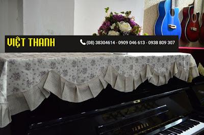 Bán Khăn phủ đàn Piano họa tiết hoa nhí xếp ly - KU04 Giá rẻ Tphcm