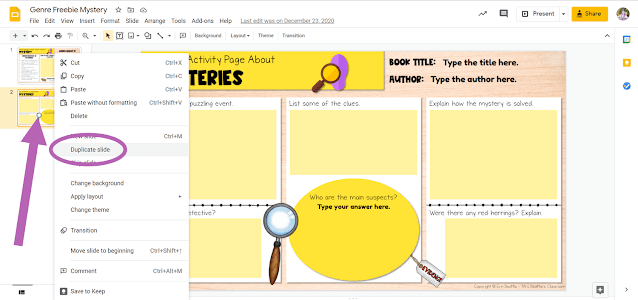 Screenshot depicting how to duplicate a slide in Google Slides file
